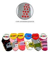 Medias invisibles CON ANTIDESLIZANTE algodón y lycra. Colores surtidos:6 varon y 6 nena. Oriana medias