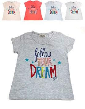Remera Manga Corta Nena estampada 'Follow Your Dream'. Gruny