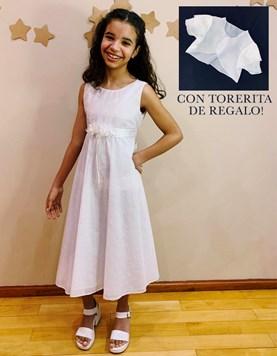 VESTIDO COMUNION CON TORERITA DE REGALO CON BRODERIE Y RAMILLETE EN CINTURA CHILDREN DIOR